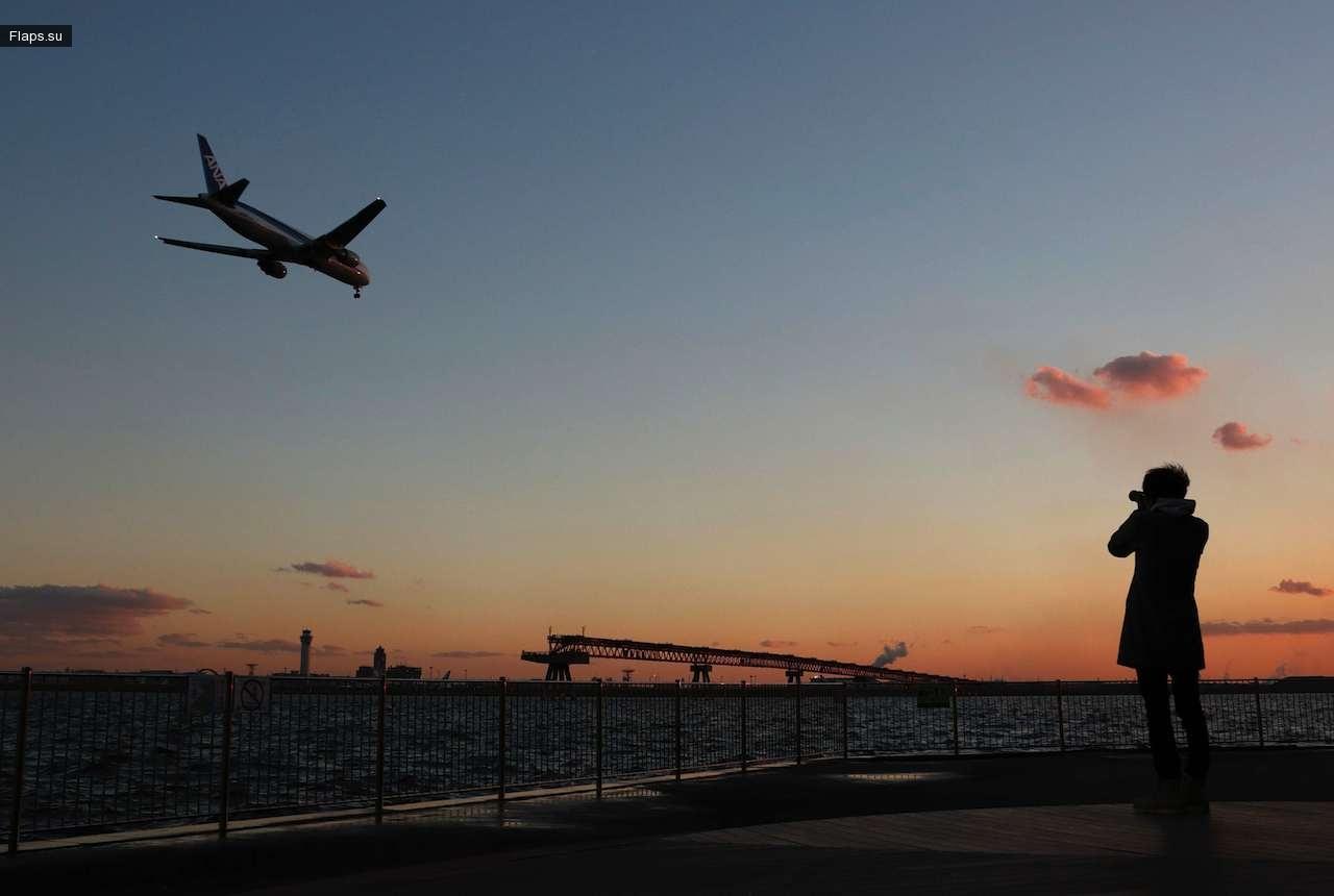 Посадка борта японской авиакомпании Ana в аэропорту Ханэда