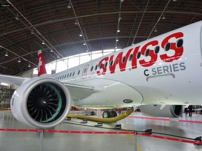 Bombardier C Series 100 под символикой SWISS