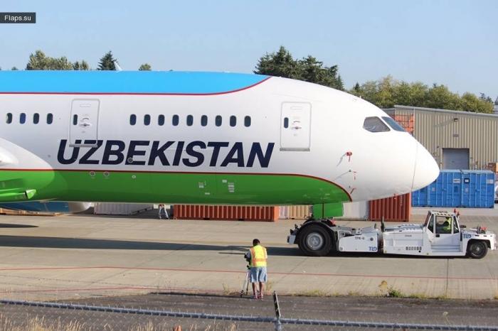 Boeing-787 Dreamliner в окраске Uzbekistan Airways